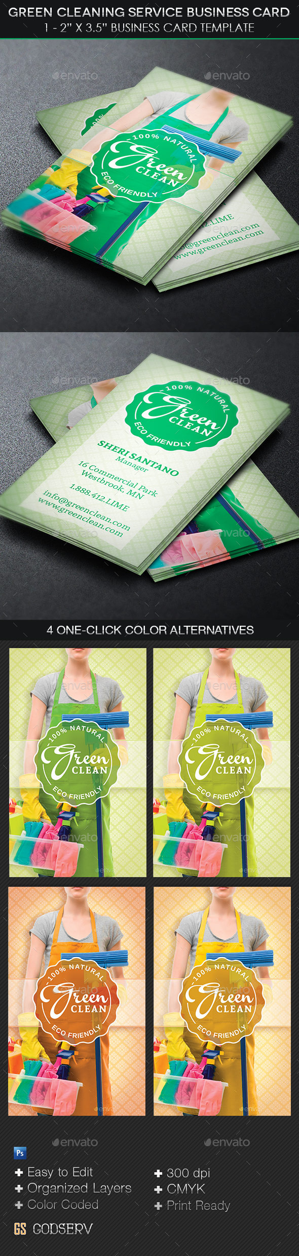 GraphicRiver Green Cleaning Service Business Card Template 11151212