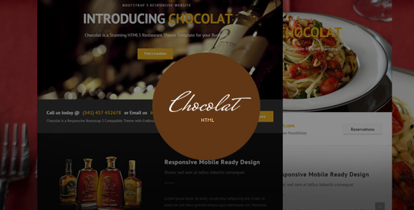 ThemeForest Chocolat Bootstrap Restaurant Template 11151366