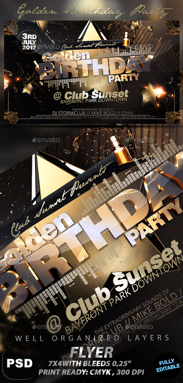 GraphicRiver Golden Birthday Party 11151375