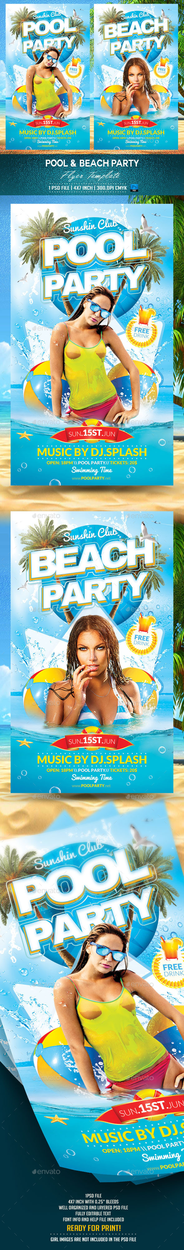 GraphicRiver Pool and Beach Party Flyer Template 11152781