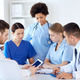 group of doctors with tablet pc at hospital - PhotoDune Item for Sale