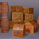 Low poly box and barrel