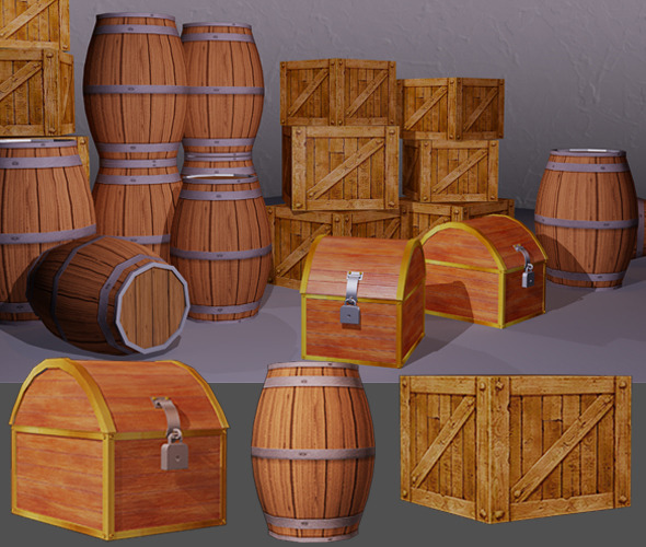 3DOcean Low poly box and barrel 11153969