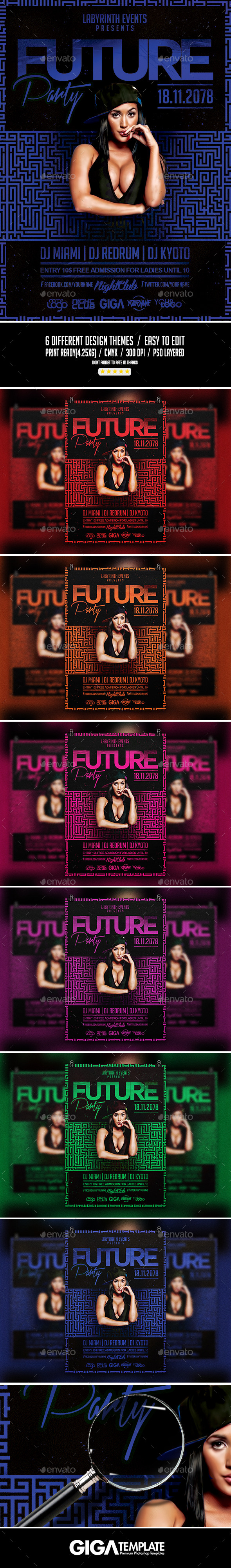 GraphicRiver Future Party Hip-Hop Night Flyer PSD Template 11096229