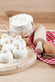 Baking ingredients for cooking manti dumplings on a wooden board - PhotoDune Item for Sale
