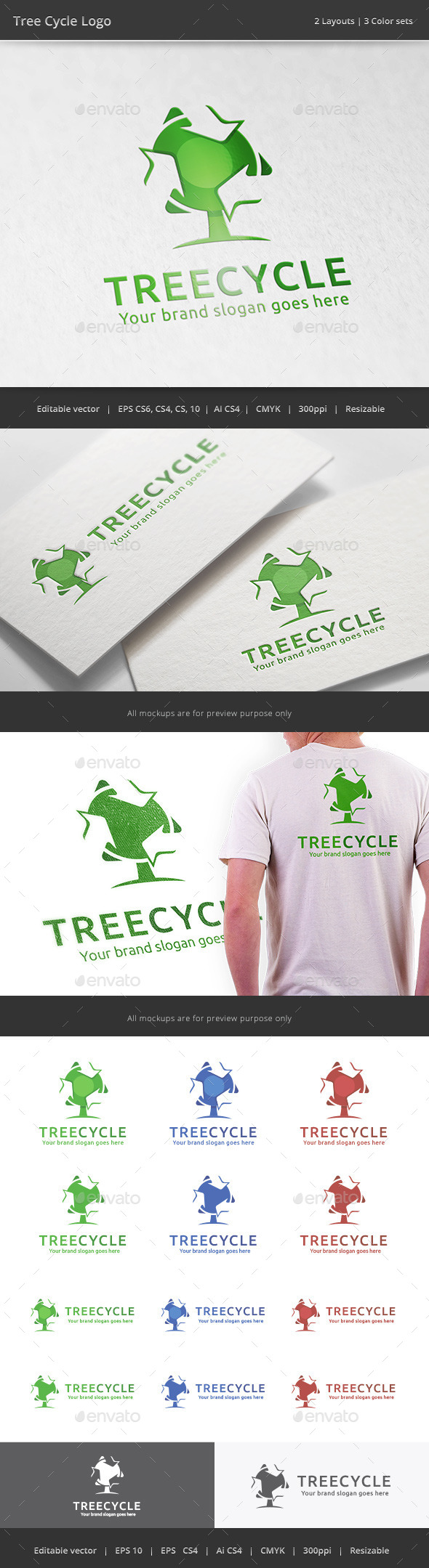GraphicRiver Tree Recycle Logo 11156746