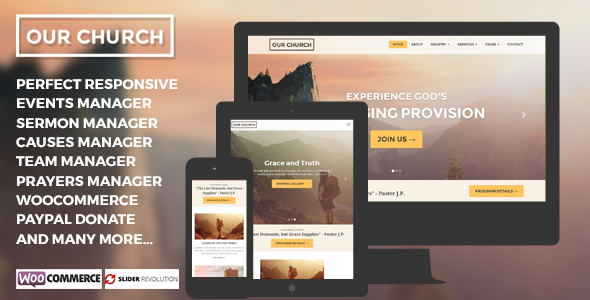Our Church Responsive Multipurpose Wordpress Theme - Churches Nonprofit