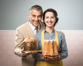 Smiling vintage couple with cakes - PhotoDune Item for Sale