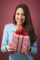 Joyful woman with gift box - PhotoDune Item for Sale