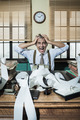 Desperate accountant shouting head in hands in vintage office - PhotoDune Item for Sale