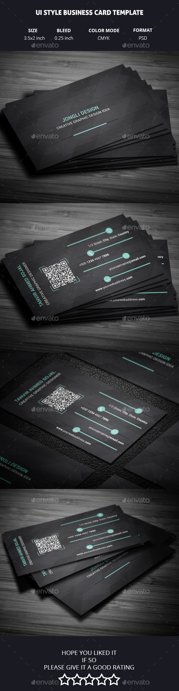 GraphicRiver UI Style Business Card Template 11157929