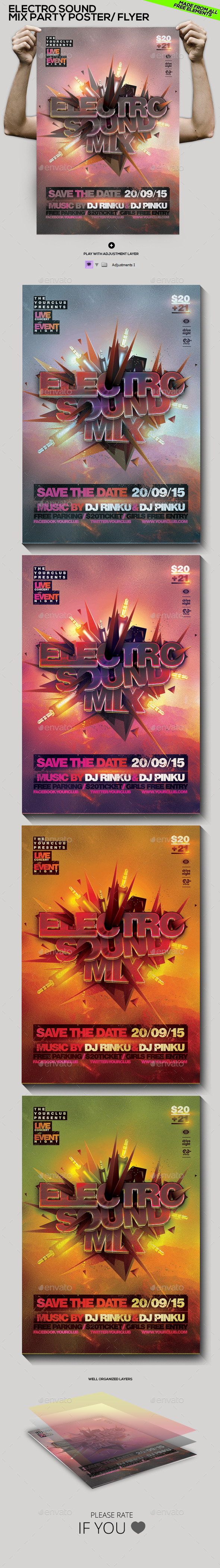 GraphicRiver Electro Sound Mix Party Poster Flyer Template 11158735