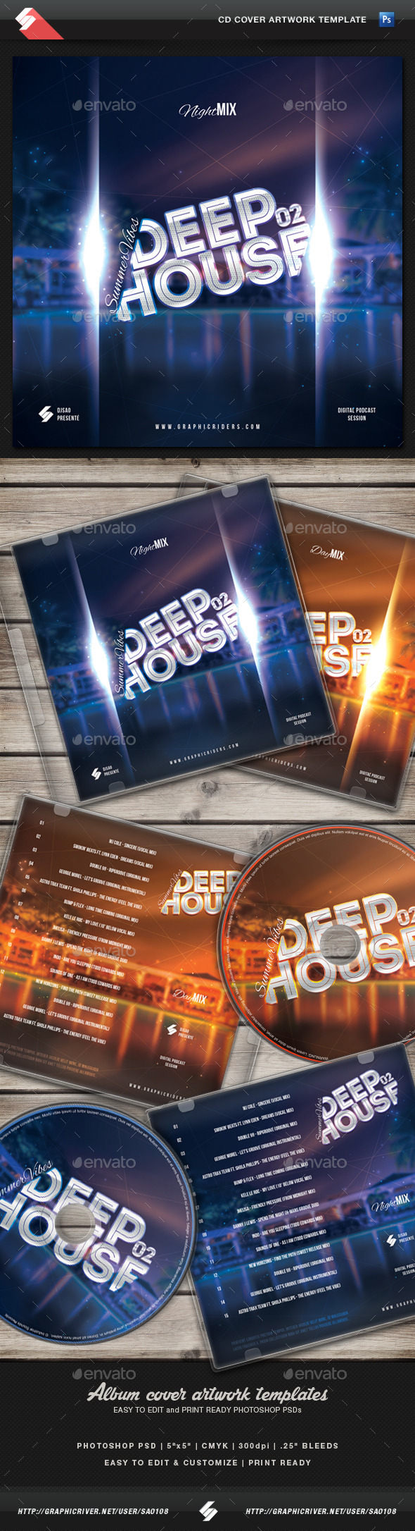 GraphicRiver Summer Vibes 02 Deep House CD Cover Template 11158824