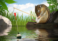 Funny chipmunk fishing with fishing-rod, angler concept - PhotoDune Item for Sale