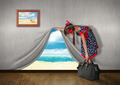 Child look at sea behind the wall, vacation concept - PhotoDune Item for Sale