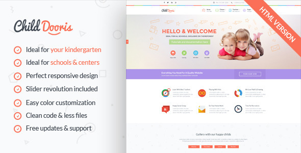 ThemeForest Child Dooris Kindergarten & School HTML Template 11051496