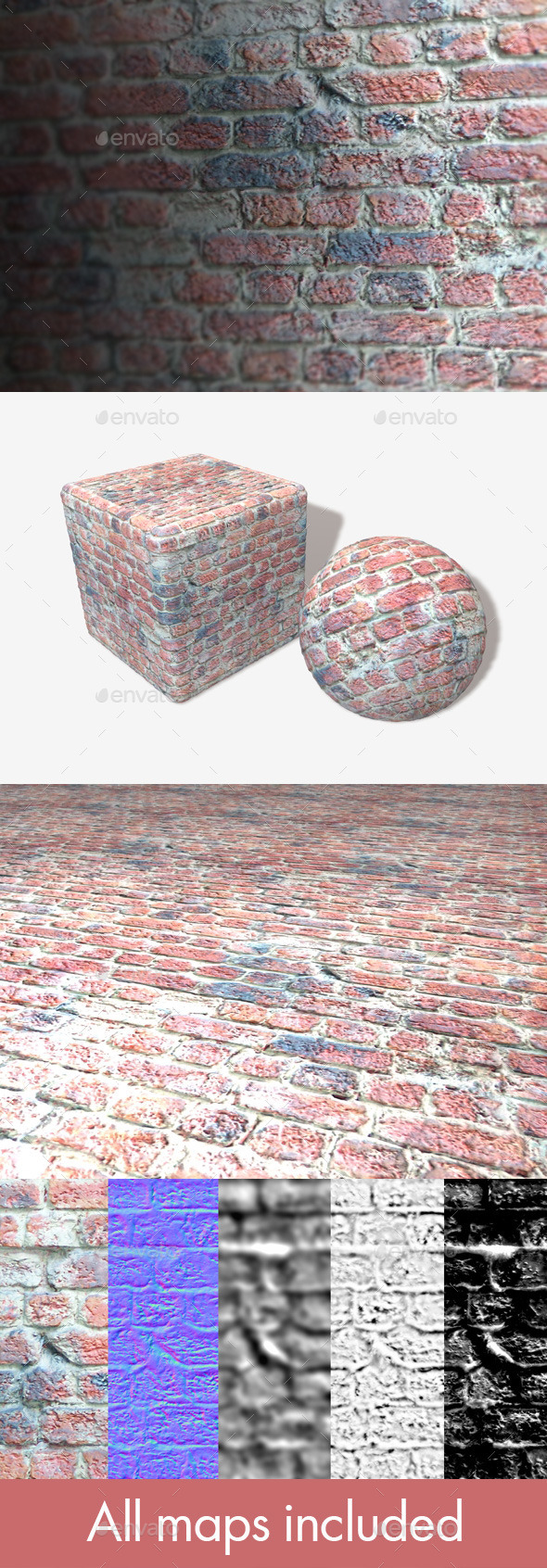 3DOcean Brick Wall with Messy Cement Seamless Texture 11159510