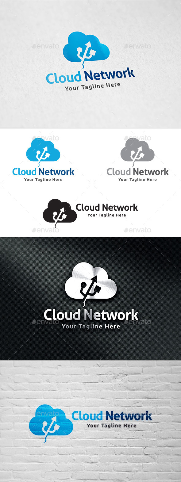 GraphicRiver Cloud Network Logo Template 11159515