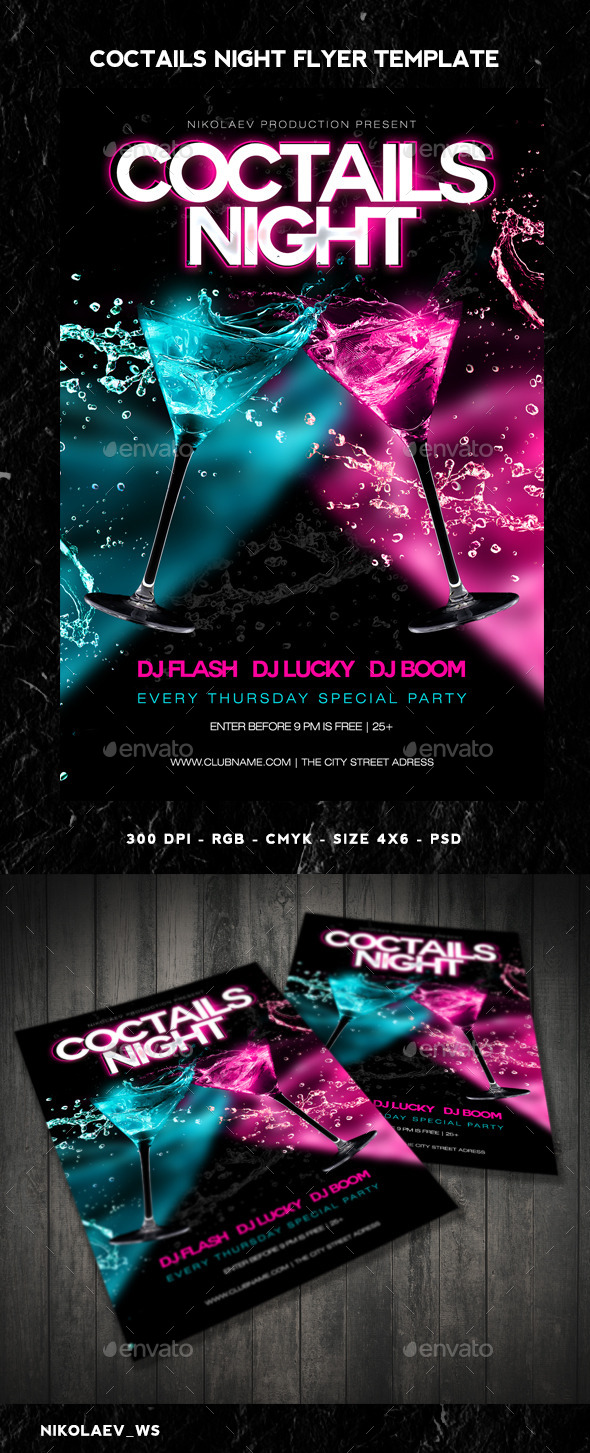 GraphicRiver Coctails Night Flyer 11159884