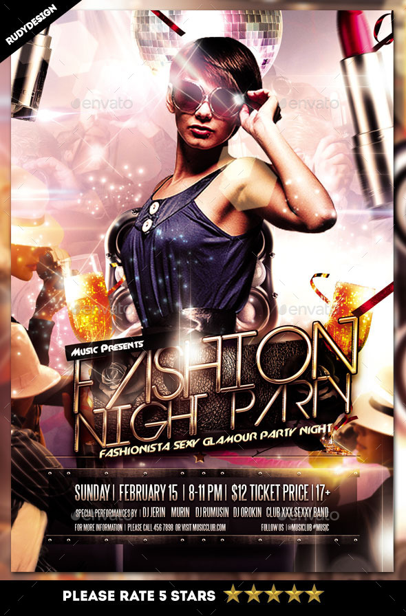GraphicRiver Fashion Night Party Flyer 11160887