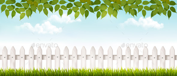 GraphicRiver White Fence in Garden 11162149