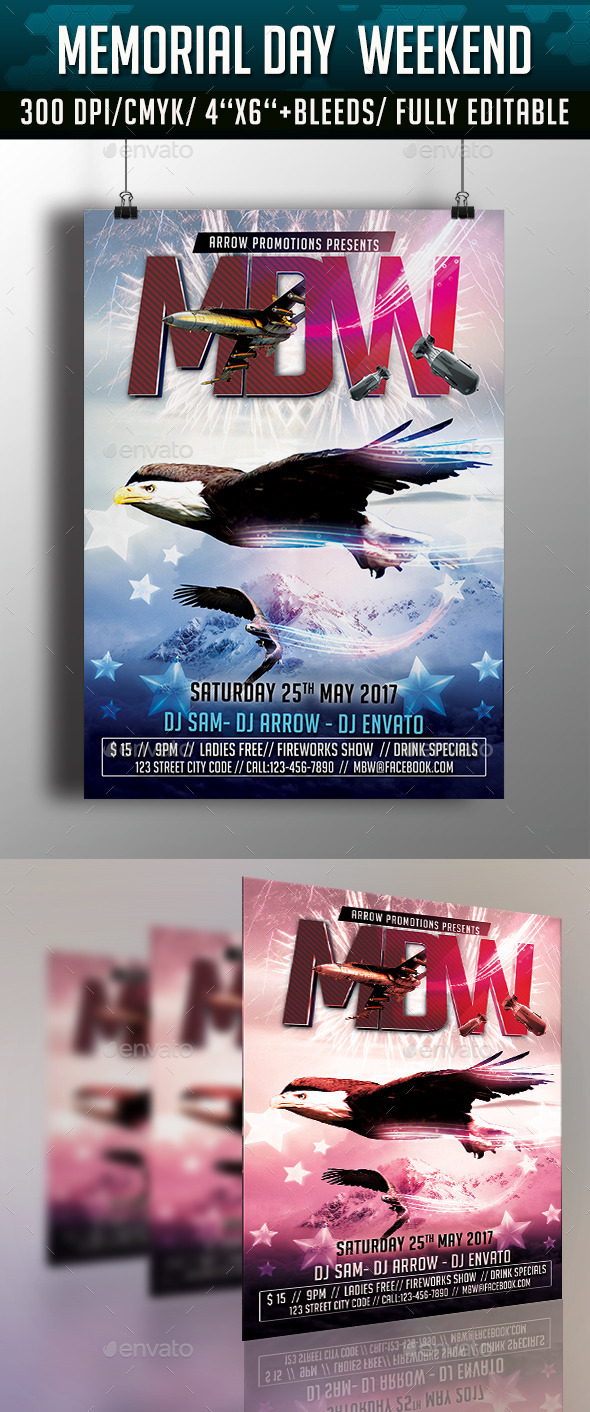 GraphicRiver Memorial Day Weekend Flyer 11162193