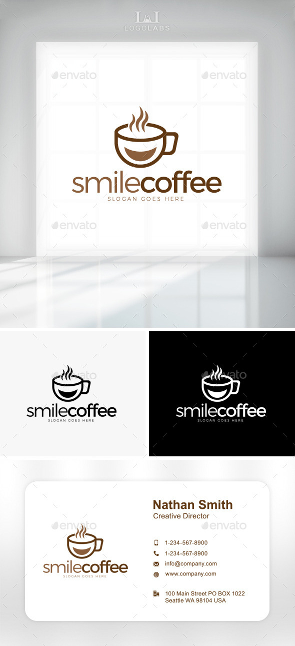 GraphicRiver Smile Coffee Logo 11162252