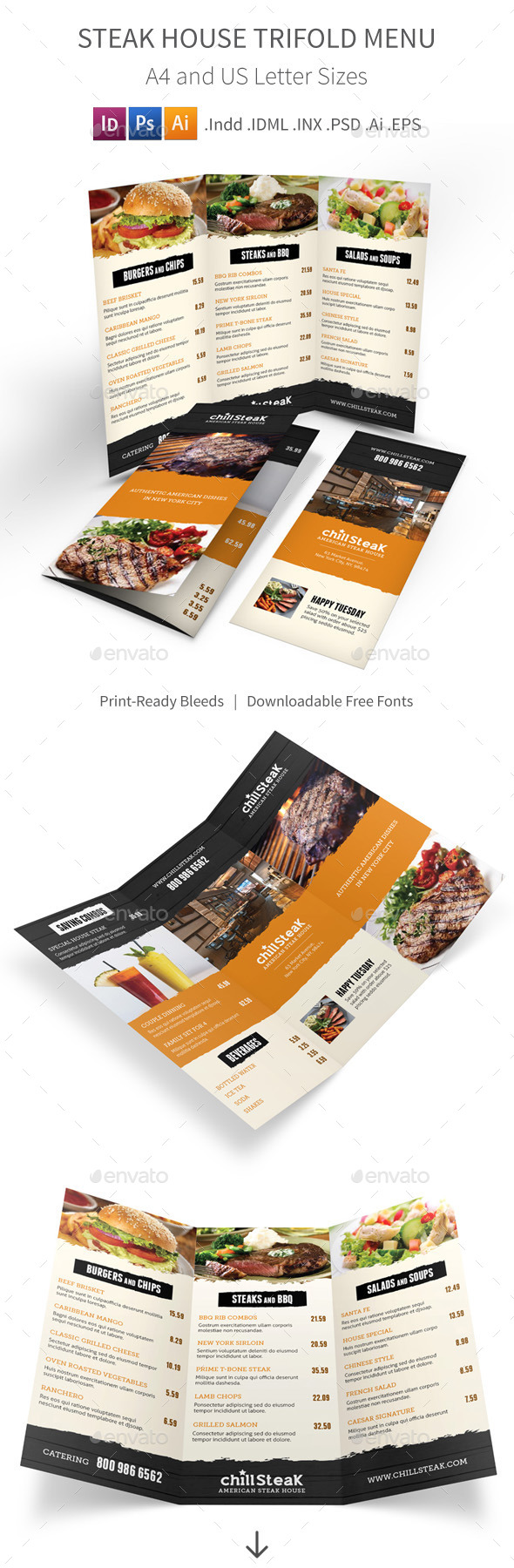 GraphicRiver Steak House Trifold Menu 11162336