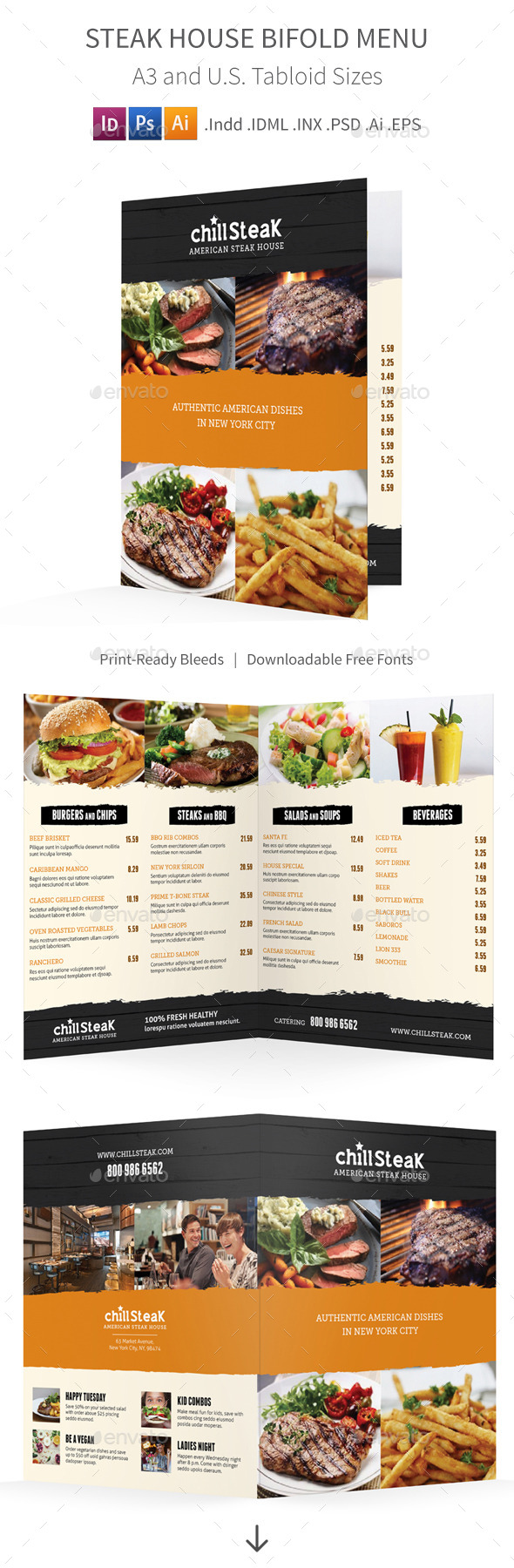 GraphicRiver Steak House Bifold Halffold Menu 11163348