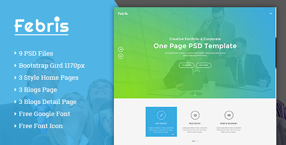 ThemeForest Febris Porfolio Corporate One Page PSD Template 11163419