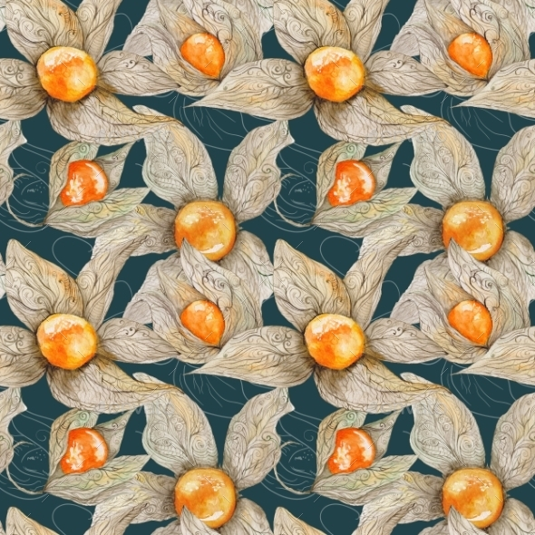 GraphicRiver Watercolor Pattern with Physalis 11164270