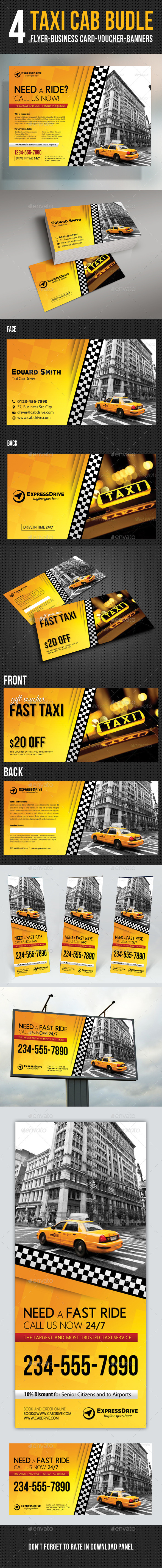 GraphicRiver 4 Taxi Cab Flyer Voucher Banner Card Bundle 11164278