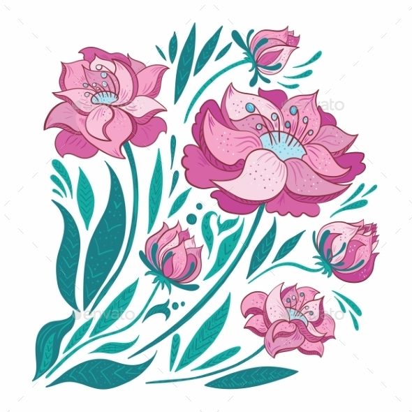 GraphicRiver Pink Vector Flowers Set 11164298