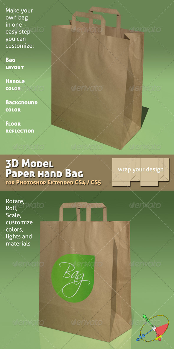 GraphicRiver 3D Object 02 Paper Bag Mock-up 138087