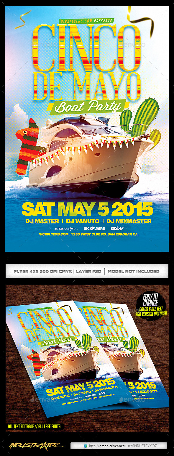 GraphicRiver Cinco De Mayo Boat Party Flyer 11164323