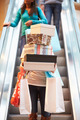 Woman Carrying Boxes And Bags In Shopping Mall - PhotoDune Item for Sale