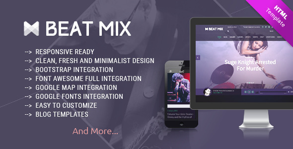 ThemeForest Beat Mix Responsive Music and Band Template 11164669