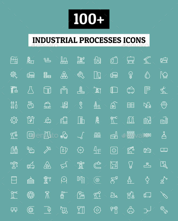 GraphicRiver 100& Industrial Processes Icons 11164670