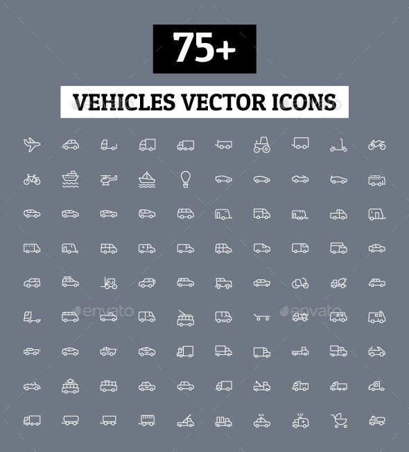 GraphicRiver 75& Vehicles Vector Icons 11164792