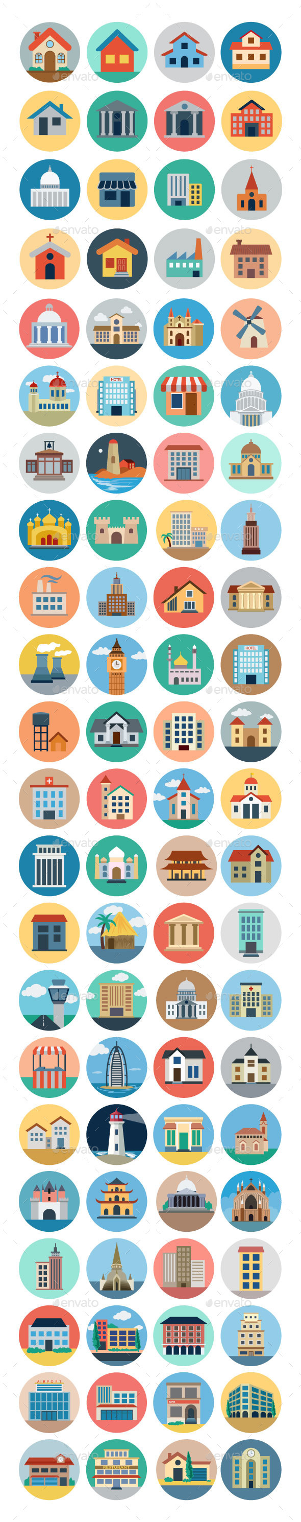 GraphicRiver 75& Flat Building Icons 11164803