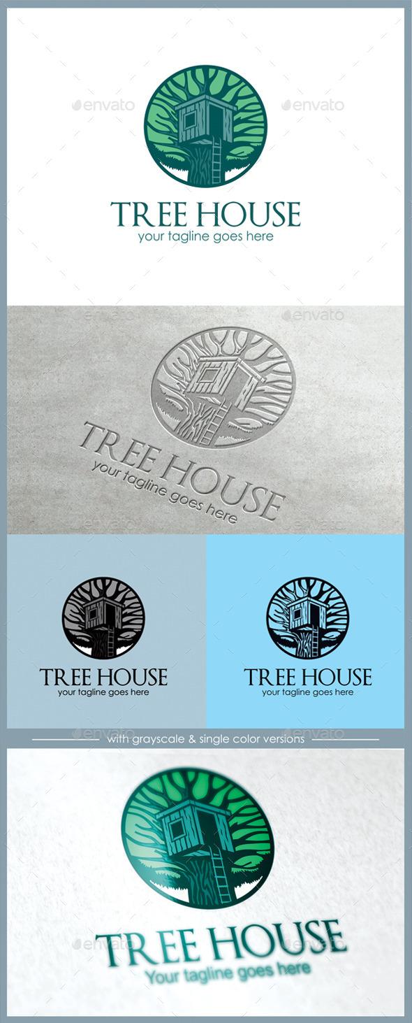 GraphicRiver Tree House Logo 11164945