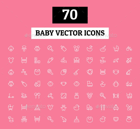 GraphicRiver 70 Baby Vector Icons 11166023