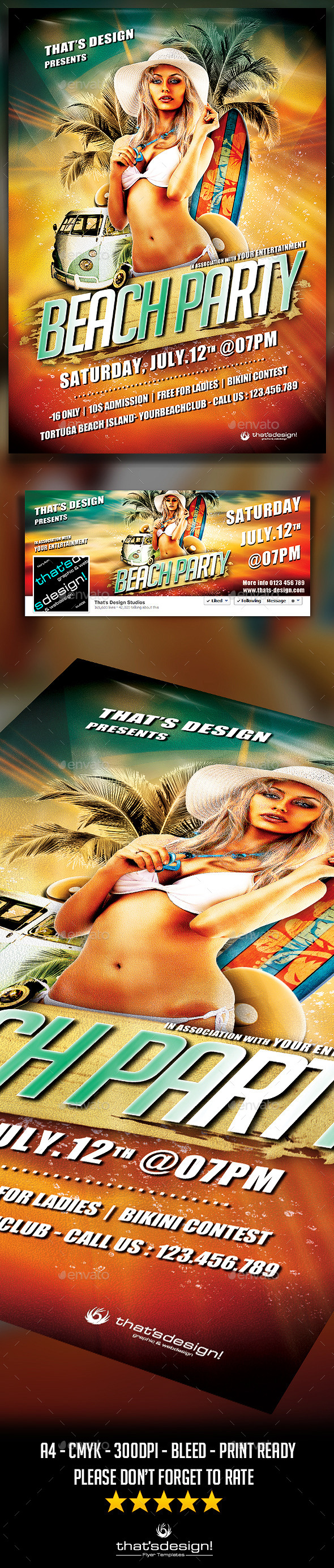 Beach Party Flyer Template V1 - Clubs & Parties Events