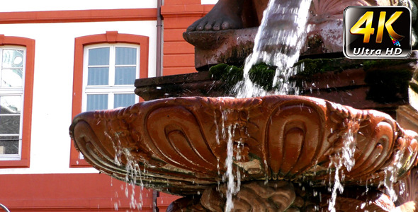 Fountain and Ancient Statue in Frankfurt 2