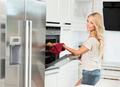 pretty smiling woman near oven - PhotoDune Item for Sale
