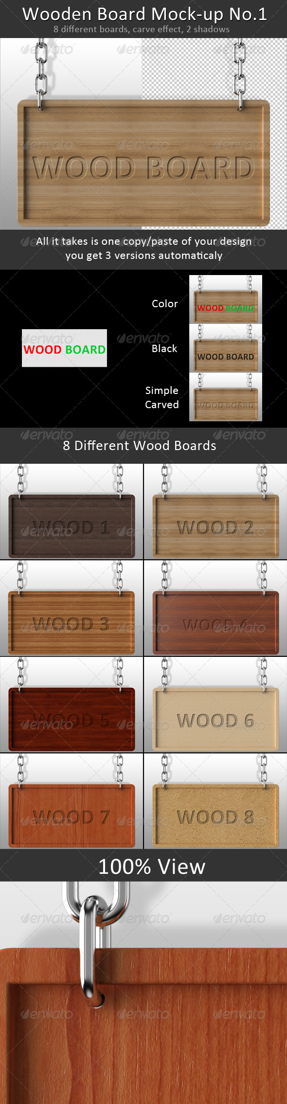 GraphicRiver Wooden Board Mock-up No.1 1120081