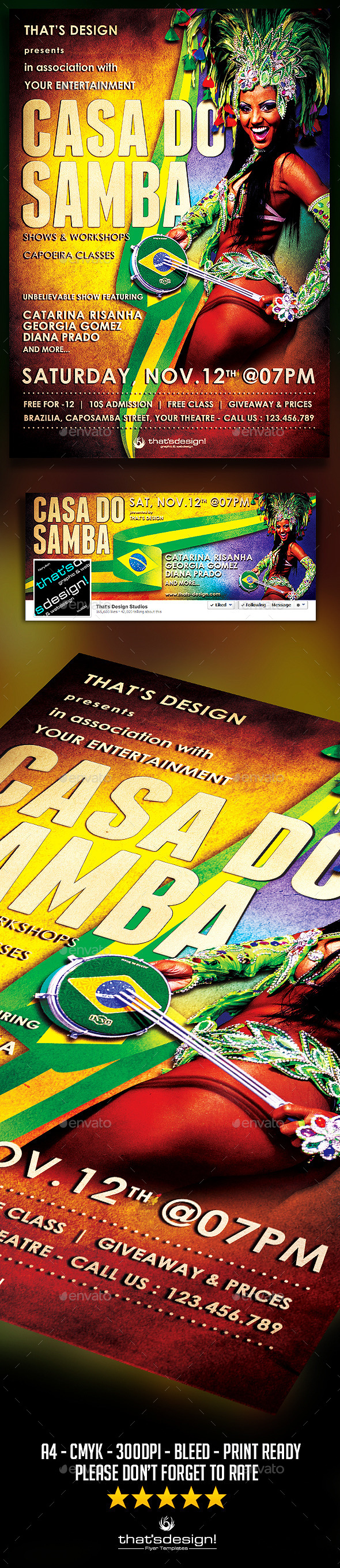 Samba Flyer Template - Clubs & Parties Events