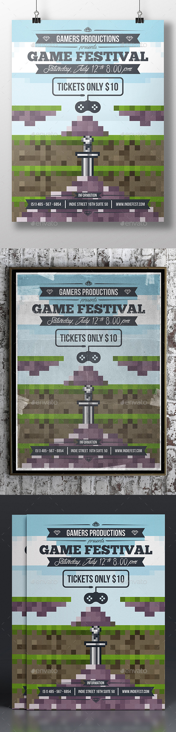 GraphicRiver Game Pixel Art Poster Template 11166807