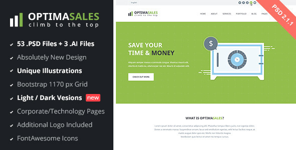OptimaSales Business & Technology Template v2.1 - Technology PSD Templates