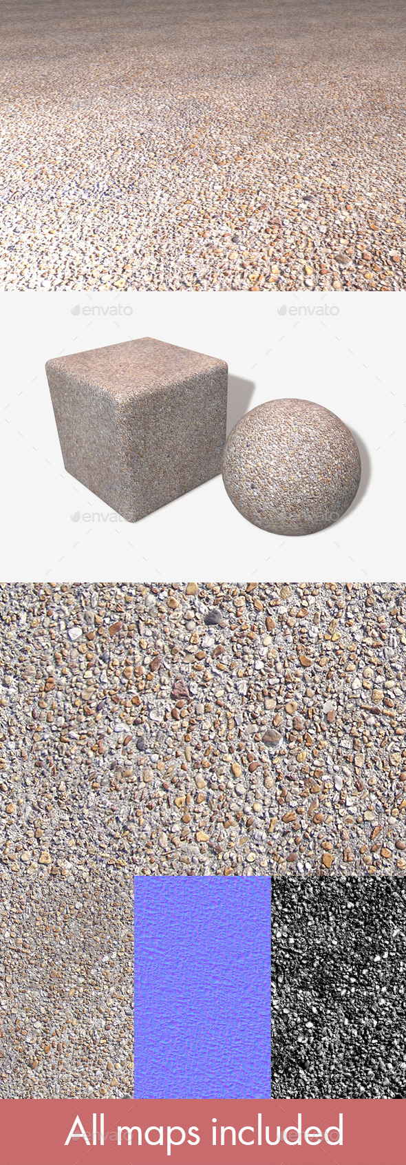 Gravel Pavement Seamless Texture - 3DOcean Item for Sale